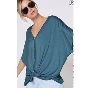 VAL Softest Button Down Top - TEAL